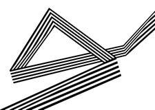 Abstrakcjonistycznych czarny i biały lampasów przegięty tasiemkowy geometrical kształt Zdjęcie Stock