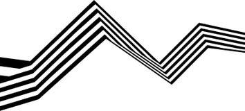 Abstrakcjonistycznych czarny i biały lampasów przegięty tasiemkowy geometrical kształt Fotografia Stock