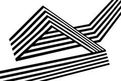 Abstrakcjonistycznych czarny i biały lampasów przegięty tasiemkowy geometrical kształt Obrazy Stock