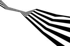 Abstrakcjonistycznych czarny i biały lampasów przegięty tasiemkowy geometrical kształt zdjęcie royalty free