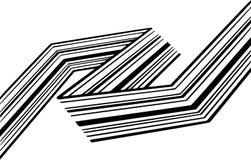 Abstrakcjonistycznych czarny i biały lampasów przegięty tasiemkowy geometrical kształt zdjęcia stock