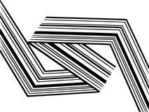 Abstrakcjonistycznych czarny i biały lampasów przegięty tasiemkowy geometrical kształt obraz stock