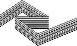 Abstrakcjonistycznych czarny i biały lampasów przegięty tasiemkowy geometrical kształt obraz royalty free