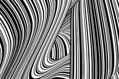 Abstrakcjonistycznych czarny i biały lampasów przegiętych faborków geometrical kształt fotografia royalty free
