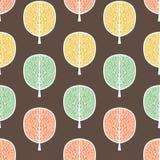 Abstrakcjonistycznych drzew bezszwowy wzór, wektorowa ilustracja, stylizowany jesień las, rocznika rysunek Ozdobni drzewni bagażn zdjęcie royalty free