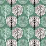 Abstrakcjonistycznych drzew bezszwowy wzór, wektorowa ilustracja, stylizowany las, rocznika rysunek Ozdobni brown i biali drzewni zdjęcie royalty free