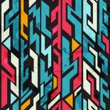 Abstrakcjonistycznych graffiti bezszwowy wzór z grunge skutkiem Zdjęcie Stock