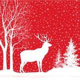 abstrakcjonistycznych gwiazdkę tła dekoracji projektu ciemnej czerwieni wzoru star white Śnieżny zima krajobraz z rogaczem Wesoło Obraz Royalty Free