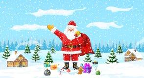 abstrakcjonistycznych gwiazdkę tła dekoracji projektu ciemnej czerwieni wzoru star white Święty Mikołaj z torba prezentami ilustracji