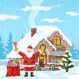 abstrakcjonistycznych gwiazdkę tła dekoracji projektu ciemnej czerwieni wzoru star white Święty Mikołaj z torba prezentami ilustracja wektor