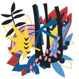 Abstrakcjonistycznych kwiecistych elementów papierowy kolaż Zdjęcia Royalty Free