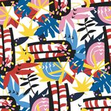 Abstrakcjonistycznych kwiecistych elementów papierowy kolaż Obrazy Royalty Free