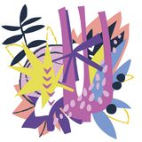 Abstrakcjonistycznych kwiecistych elementów papierowy kolaż Obrazy Stock