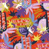 Abstrakcjonistycznych kwiecistych elementów papierowy kolaż Zdjęcie Royalty Free