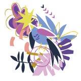 Abstrakcjonistycznych kwiecistych elementów papierowy kolaż Fotografia Royalty Free