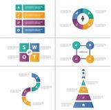 6 Abstrakcjonistycznych prezentacja szablonów Infographic elementsflat Abstrakcjonistyczny projekt ustawia dla broszurki ulotki u Zdjęcie Stock
