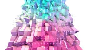 Abstrakcjonistycznych prostych błękit menchii niska poli- 3D powierzchnia i latanie biali kryształy jako modny tło Miękki geometr zdjęcie wideo
