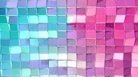 Abstrakcjonistycznych prostych błękit menchii niska poli- 3D powierzchnia i latanie biali kryształy jako zaawansowany technicznie ilustracja wektor