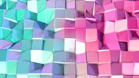 Abstrakcjonistycznych prostych błękit menchii niska poli- 3D powierzchnia jako fantastyka naukowa krajobraz Miękki geometryczny n ilustracji