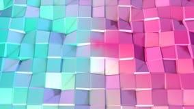 Abstrakcjonistycznych prostych błękit menchii niska poli- 3D powierzchnia jako krystaliczna siatka Miękki geometryczny niski poli ilustracji