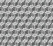 Abstrakcjonistycznych szarość 3d sześcianów geometryczny bezszwowy wzór z sercami ilustracji