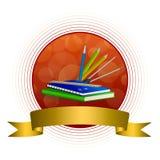 Abstrakcjonistycznych tło szkoły zieleni książki notatnika władcy pióra klamerki błękitnych ołówkowych kompasów żółtego złota okr ilustracja wektor