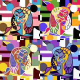Abstrakcjonistycznych twarzy wektoru Bezszwowy wzór - Oryginalni sztuka kawałki w Wielostrzałowej Bezszwowej tapecie ilustracja wektor