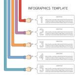 Abstrakcjonistycznych wektoru 5 kroków infographic szablon w płaskim konturu stylu dla układu obieg planu, liczącym opcje, mapa l Zdjęcie Stock