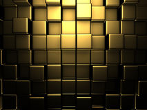 Abstrakcjonistycznych Złotych sześcianów Ścienny tło ilustracja wektor