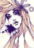 abstrakcyjna portret kobiety fałszywy mody tła komputerowy ekranu Fotografia Stock