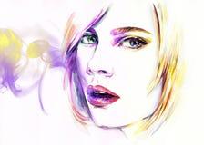 abstrakcyjna portret kobiety fałszywy mody tła komputerowy ekranu Fotografia Royalty Free