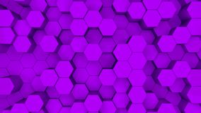 Abstrakcyjne purpurowe tło sześciokątne. Animacja 3D fioletowych sześciokątów rosnących w górę i w dół ilustracji