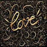 abstrakcyjny tło Miłości słowa ręki literowanie Złoci zawijasy i swooshes royalty ilustracja