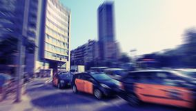 abstrakcyjny tło Ruch drogowy plamy ruch w nowożytnym mieście - pośpiech Zdjęcia Royalty Free