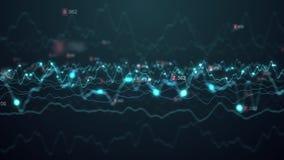 Abstrakcyjny wykres giełdowy dot technologia cyfrowa wizualizacja cząstek danych, wykres biznesowy finansowy, pętla kodu binarneg ilustracji