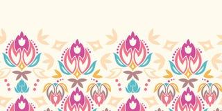 Abstraktów adamaszkowych tulipanów horyzontalny bezszwowy wzór ilustracja wektor