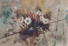 Abstraktów kwiaty - Oryginalny akwarela obraz obrazy stock