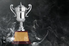 Abstraktów srebni trofea na czarnym bacground Zdjęcia Stock