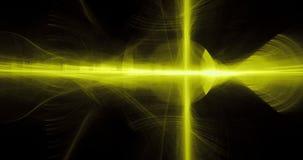 Abstraktów wzory Na Ciemnym tle Z Żółtych linii krzyw cząsteczkami royalty ilustracja