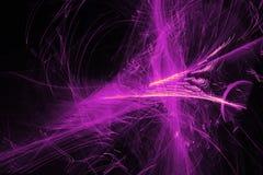 Abstraktów wzory Na Ciemnym tle Z Purpurowych linii krzyw cząsteczkami obraz royalty free