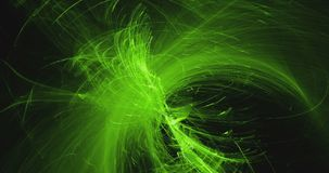 Abstraktów wzory na ciemnym tle z zielonymi żółtymi liniami wyginają się cząsteczki royalty ilustracja