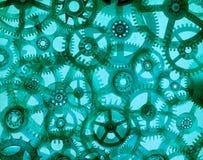 Abstraktów Zegarowych Cogs Zielony tło Fotografia Royalty Free