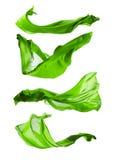 Abstraktów zieleni jedwabie na białym tle Fotografia Stock