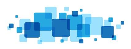 Abstrakt överlappande blått kvadrerar bakgrund stock illustrationer