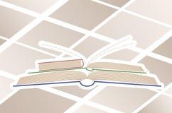 Abstrakt översikt flera öppna böcker Fotografering för Bildbyråer