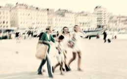 abstrakt υπόβαθρο Μασσαλία, παλαιός λιμένας (vieux-λιμένας) με το peop Στοκ Εικόνες