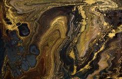 Abstrakt akrylbakgrund för marmor Marmorera konstverktextur Agatkrusningsmodell Guld- pulver royaltyfri foto