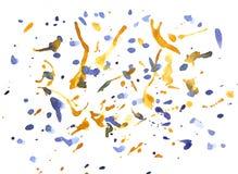 Abstrakt akvarelldroppe och färgstänk på pappers- bakgrund royaltyfri bild