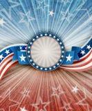 Abstrakt amerikansk patriotisk bakgrund med banret Arkivfoton