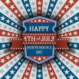 Abstrakt amerikansk patriotisk bakgrund med skölden Arkivbild